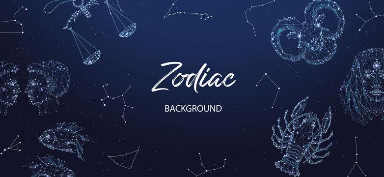Zodiac background. Astrological horoscope. Horizontal banner with polygonal zodiac signs.