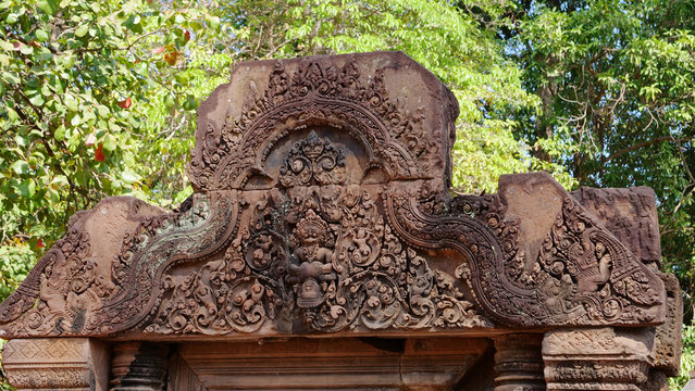 Stone ruin of carving art details at Banteay Srei Angkor temple in Siem Reap, Cambodia.