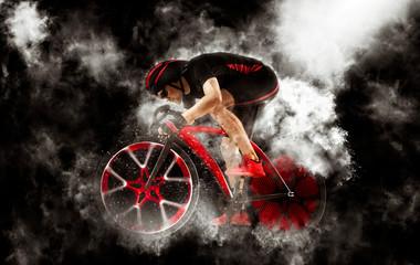 Man racing cyclist