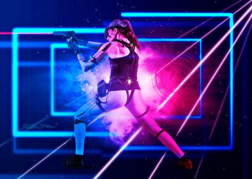 Excited girl holding laser pistol