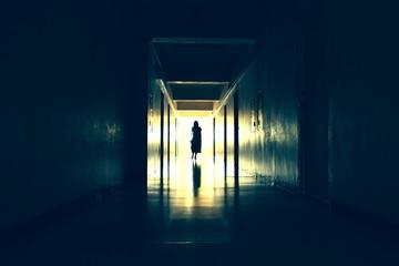 Dark creepy hallway. bringing the end of the dark corridor. Scary black hall. Fototapete