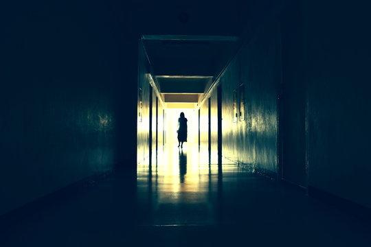 Dark creepy hallway. bringing the end of the dark corridor. Scary black hall.