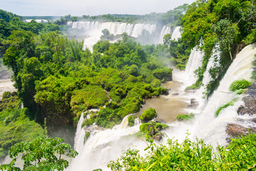 Waterfalls and jungle - a view from the Upper Trail at the Iguazu National Park (Puerto Iguazu, Argentina)