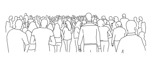 Crowd of people. Line drawing vector illustration. Fotobehang