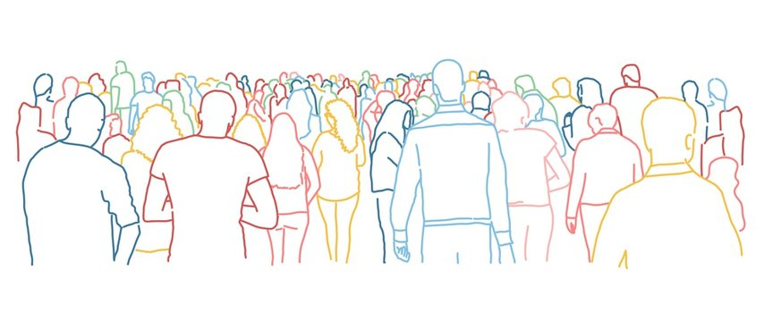Crowd of people. Colour line drawing vector illustration.