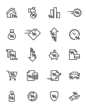 Set of Illustration Loan Related Vector Icons