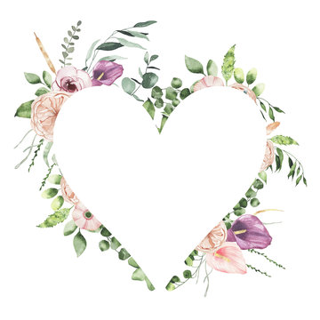 Watercolor Valentines Day floral heart frame with calla lily rose greenery leaves isolated on white background. Floral wreath bohemian boho illustration for wedding invitation save the date card