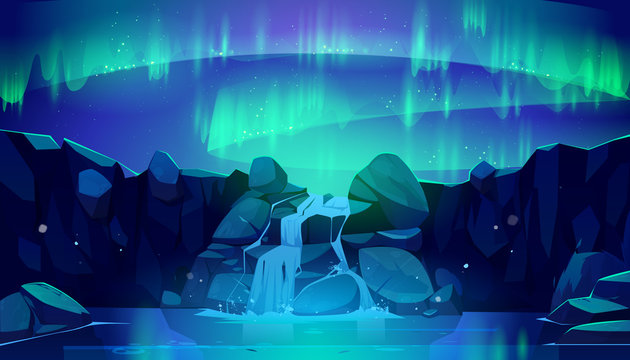 Aurora borealis in night sky and waterfall. Vector cartoon illustration of northen lights, starry space and falling stream of mountain river in rocks. Winter nordic landscape