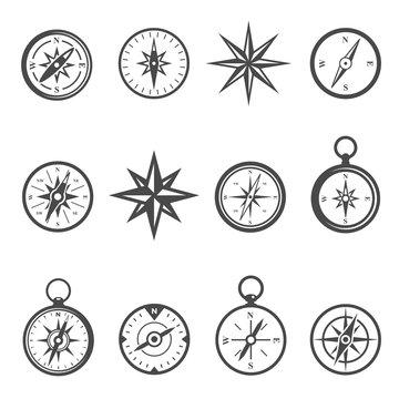 Compass, navigational equipment glyph vector icons set