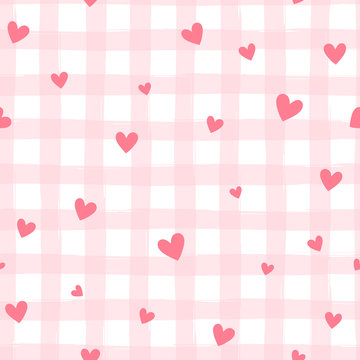 Valentine's day seamless pattern with stripes and hearts, abstract vector background.