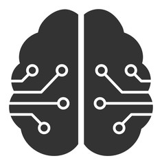 Electronic brain vector icon. Flat Electronic brain pictogram is isolated on a white background.