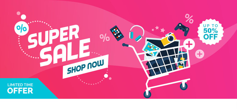 Electronics promotional sales banner with shopping cart