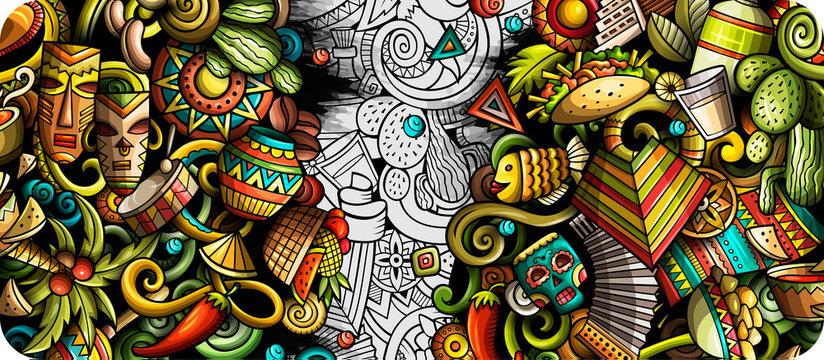 Latin America hand drawn doodle banner. Cartoon detailed flyer.