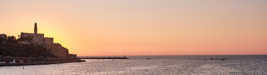 Landscape view at sunset of the Old Giaffa (Jaffa) in Tel Aviv, ISRAEL.