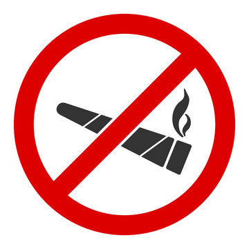 No smoking cannabis vector icon. Flat No smoking cannabis pictogram is isolated on a white background.