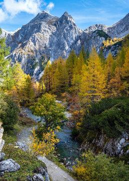 Sunny autumn alpine rocky mountains near Tappenkarsee lake, Kleinarl, Land Salzburg, Austria.