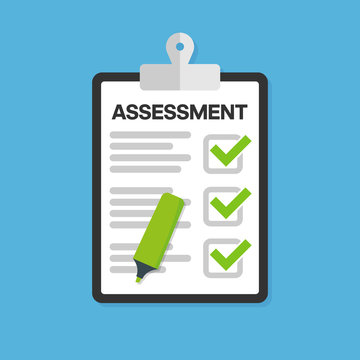 Clipboard checklist with assessment. Vector illustration.