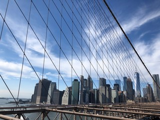 Spoed Fotobehang Brooklyn Bridge brooklyn bridge and manhattan
