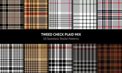 Self adhesive Wall Murals Pattern Glen pattern set. Traditional seamless hounds tooth check plaid background for coat, skirt, trousers, jacket, or other modern fashion fabric print. Texture for autumn and winter clothing.