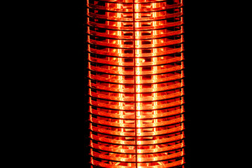 electric heater detail isolated on black