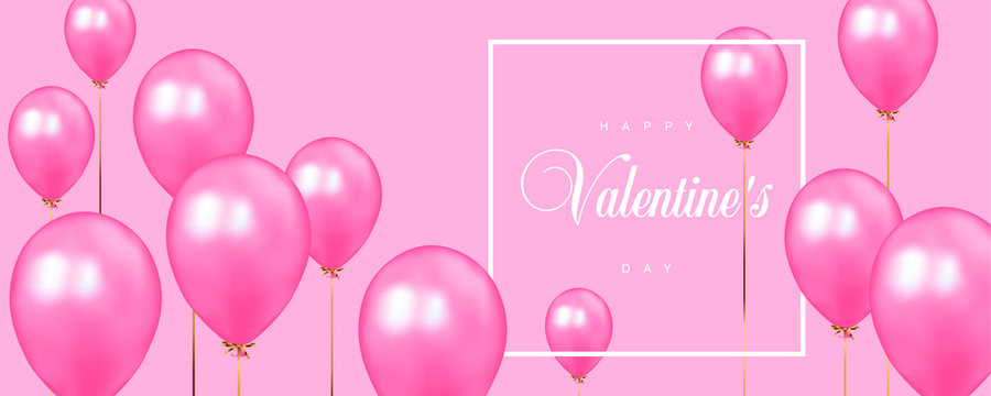Happy Valentines Day vector template with calligraphic lettering on pink background with pink balloons.