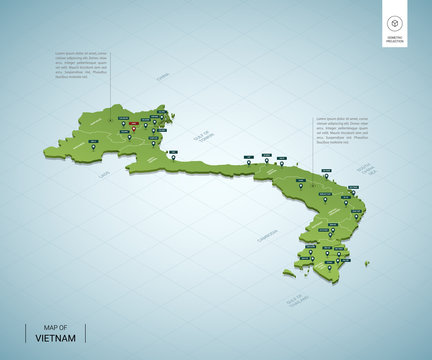 Stylized map of Vietnam. Isometric 3D green map with cities, borders, capital Hanoi, regions. Vector illustration. Editable layers clearly labeled. English language.