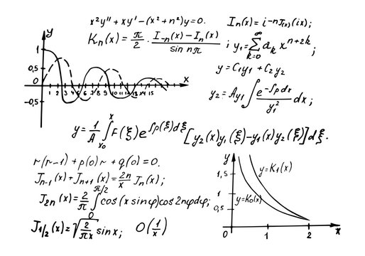 Physical and mathematical equations and formulas on a whiteboard. Vintage educational and science vector background.