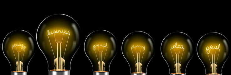 business process steps, business concept with bright bulb