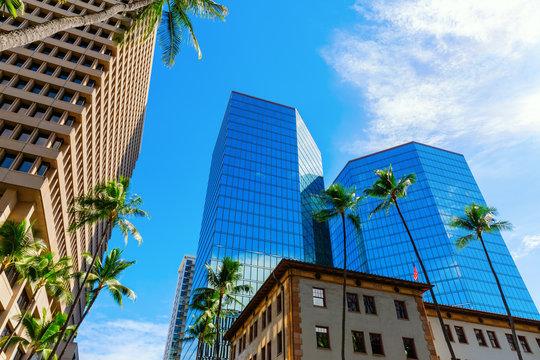 skyscraper in the city center of Honolulu, Oahu, Hawaii