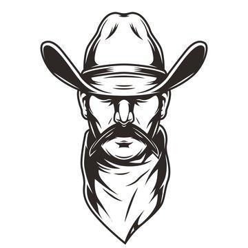 Man head in cowboy hat concept