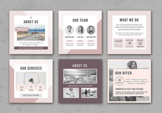 Faded Pastel Pink Social Media Square Post Layouts