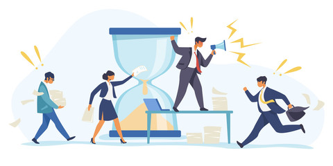 Hurrying workers, burnout. Boss shouting at employees, deadline flat vector illustration. Work related stress concept for banner, website design or landing web page Wall mural