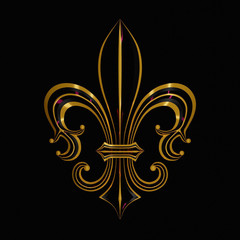 abstract floral background with golden fleur de lis ornament