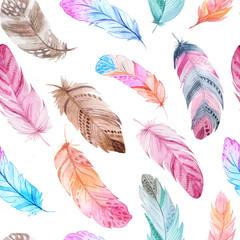 Modèle sans couture de plumes aquarelle