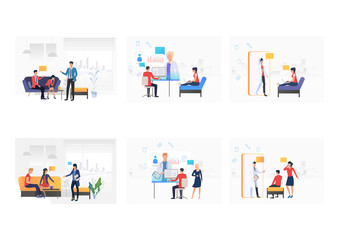 Set of consulting doctors. Flat vector illustrations of patients using laptops or mobile phones and talking to doctors. Online consulting concept for banner, website design or landing web page