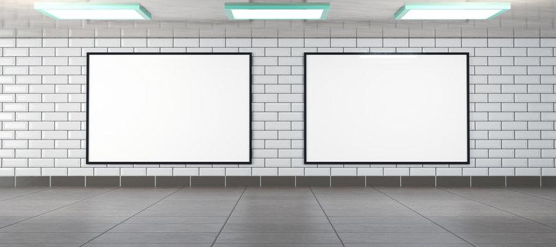two horizontal billboard frames as mockup, rendered in 3D