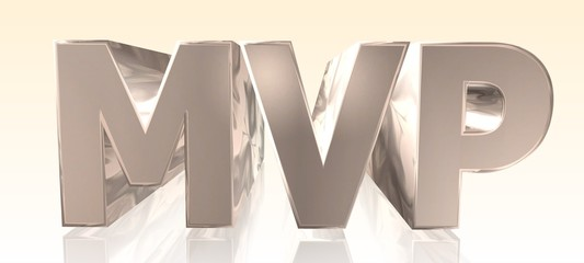 MVP - Minimum Viable Product -  Metal Word in Light Background - Concept Keyword Illustration - 3D rendering
