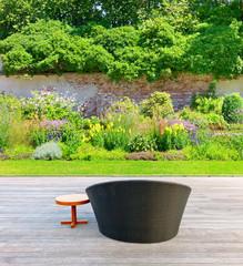 Beautiful well-kept garden with terrace