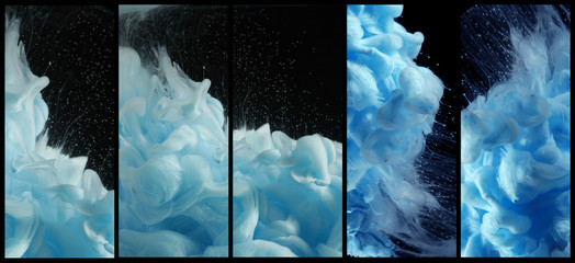 Acrylic blue colors in water. Ink blot. Abstract background.