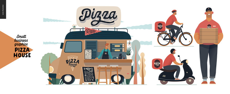 Pizza house - small business graphics - delivery. Modern flat vector concept illustrations of a street food truck with a seller inside, pavement sign. Pizza guy, transportation by bicycle and scooter