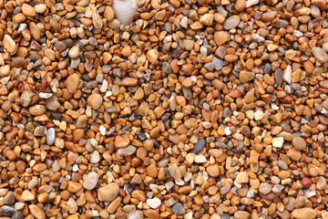 Close up of wet shingle on a beach