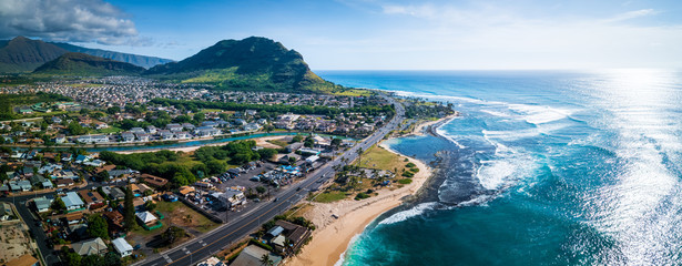 Wall Mural - Aerial panorama of the west coast of Oahu island, Hawaii