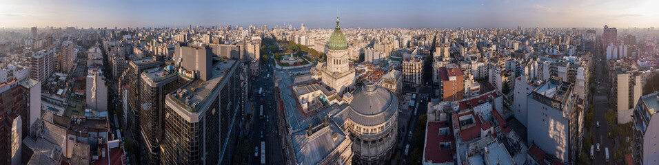 Aerial panorama of the city of Buenos Aires and Congress building, Argentina