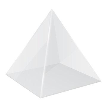Transparent pyramid. 3d geometric shape