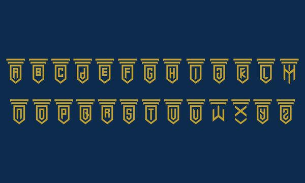 Set logo law firm (a b c d e f g h i j k l m n o p q r s t u v w q y z)