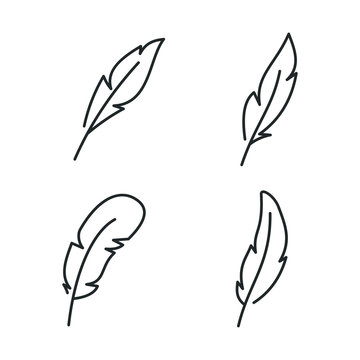 Feather, Pen icon template color editable. Feather symbol vector sign isolated on white background illustration for graphic and web design.