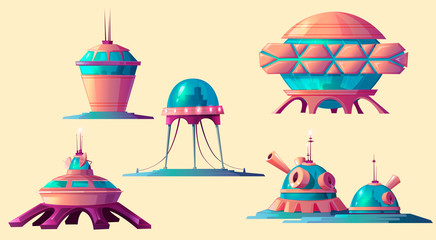 Space colonization set. Spaceship, rocket, shuttle and buildings for universe and alien planet exploration, cosmic base elements of settlement isolated on yellow background cartoon vector illustration