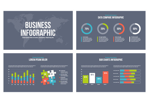 Infographic Presentation Elements on Dark Blue Background