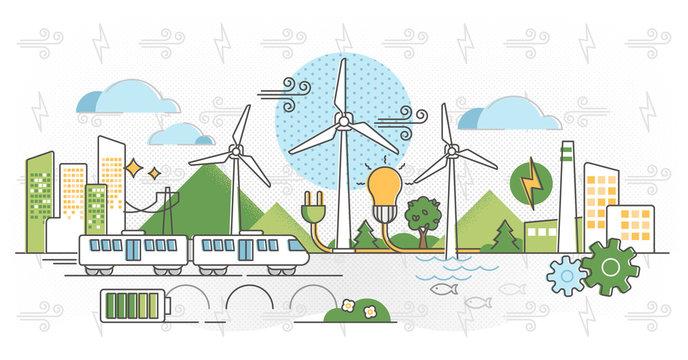 Wind energy vector illustration. Green alternative power in outline concept