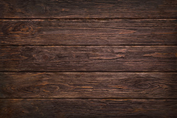 Wooden dark brown retro shabby planks wall ,table or floor texture banner background.Wood desk photo mockup wallpaper design for decoration . Fotobehang